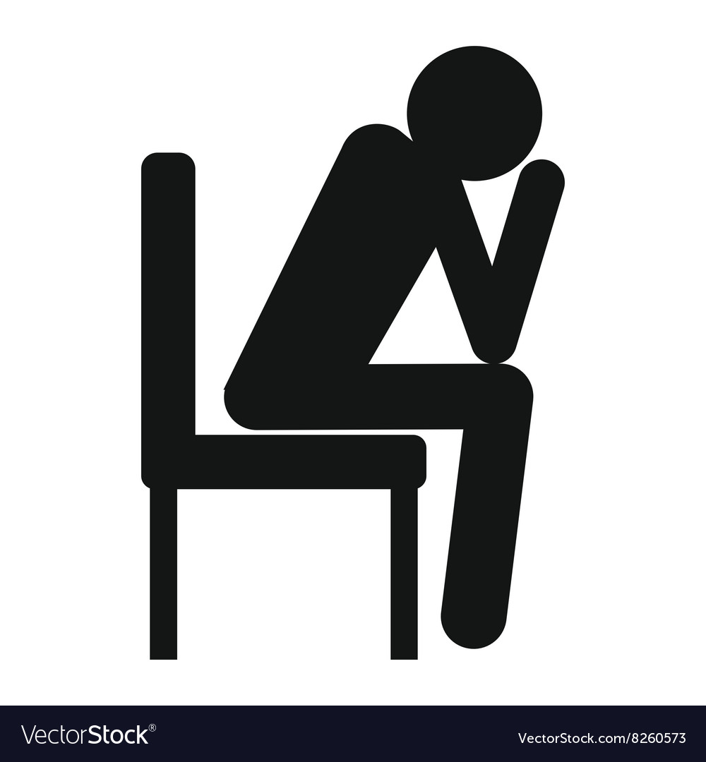 Sad man sitting on chair icon black simple style vector image