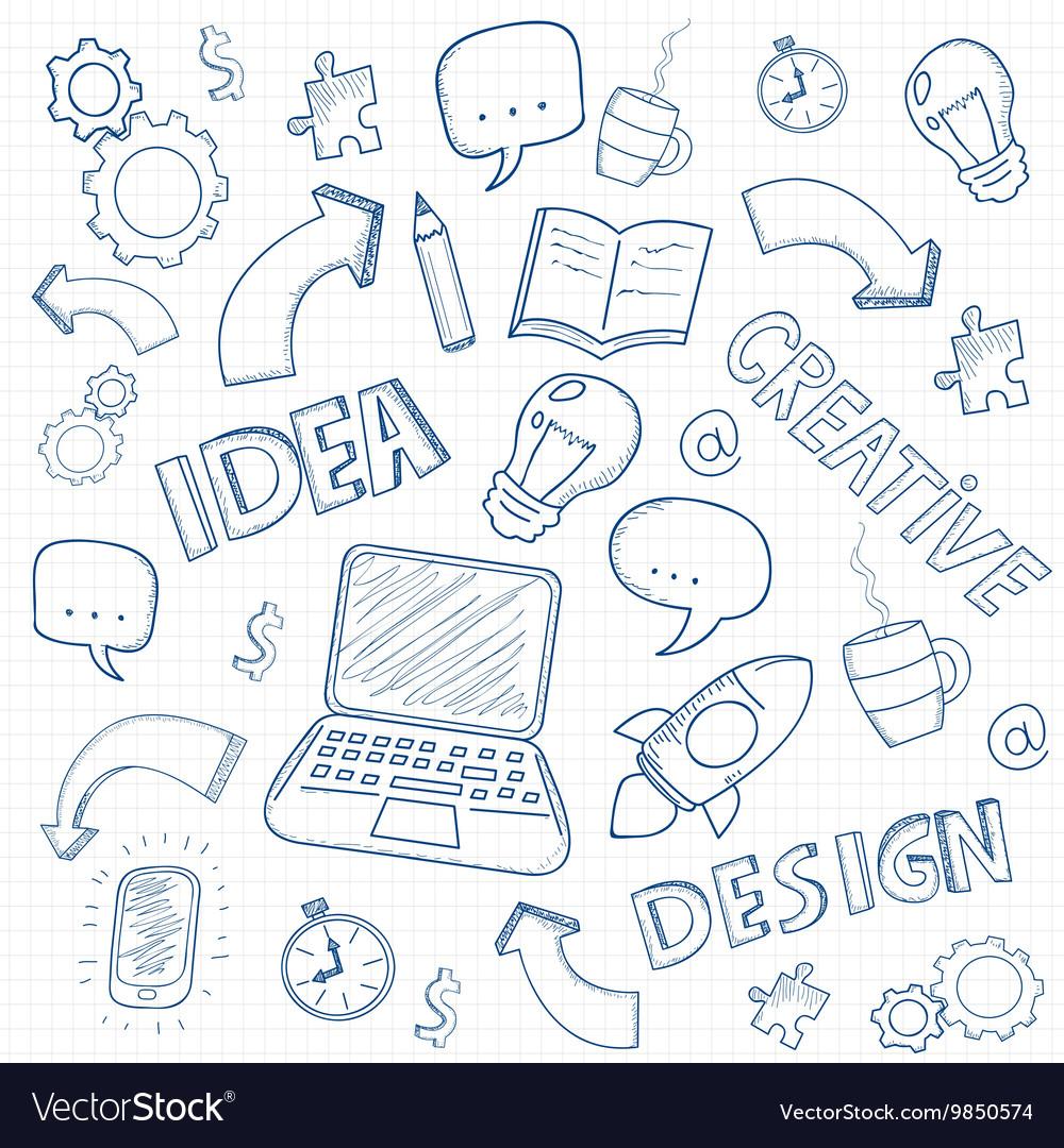 Business doodles set vector image