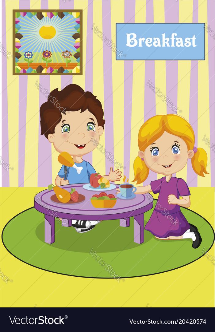 Cute little boy and girl having breakfast vector image