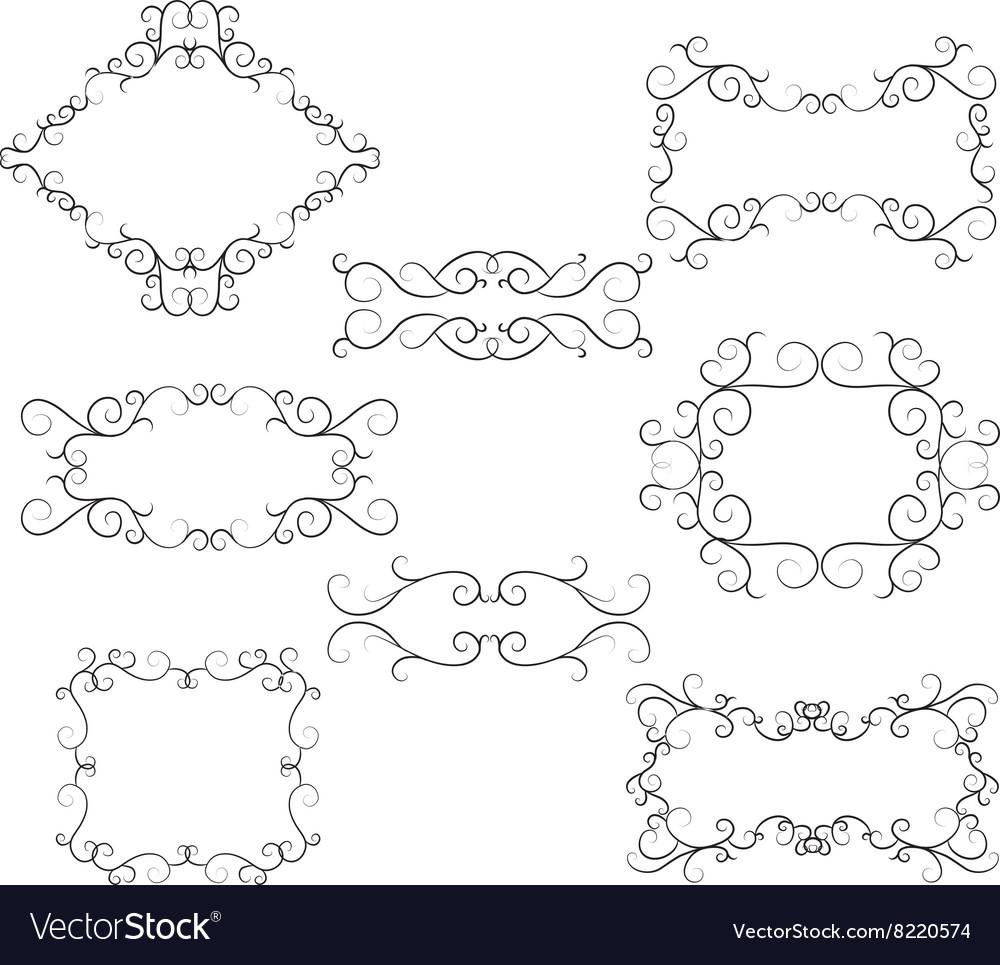 Flourish Swirl Border Frame Collection vector image