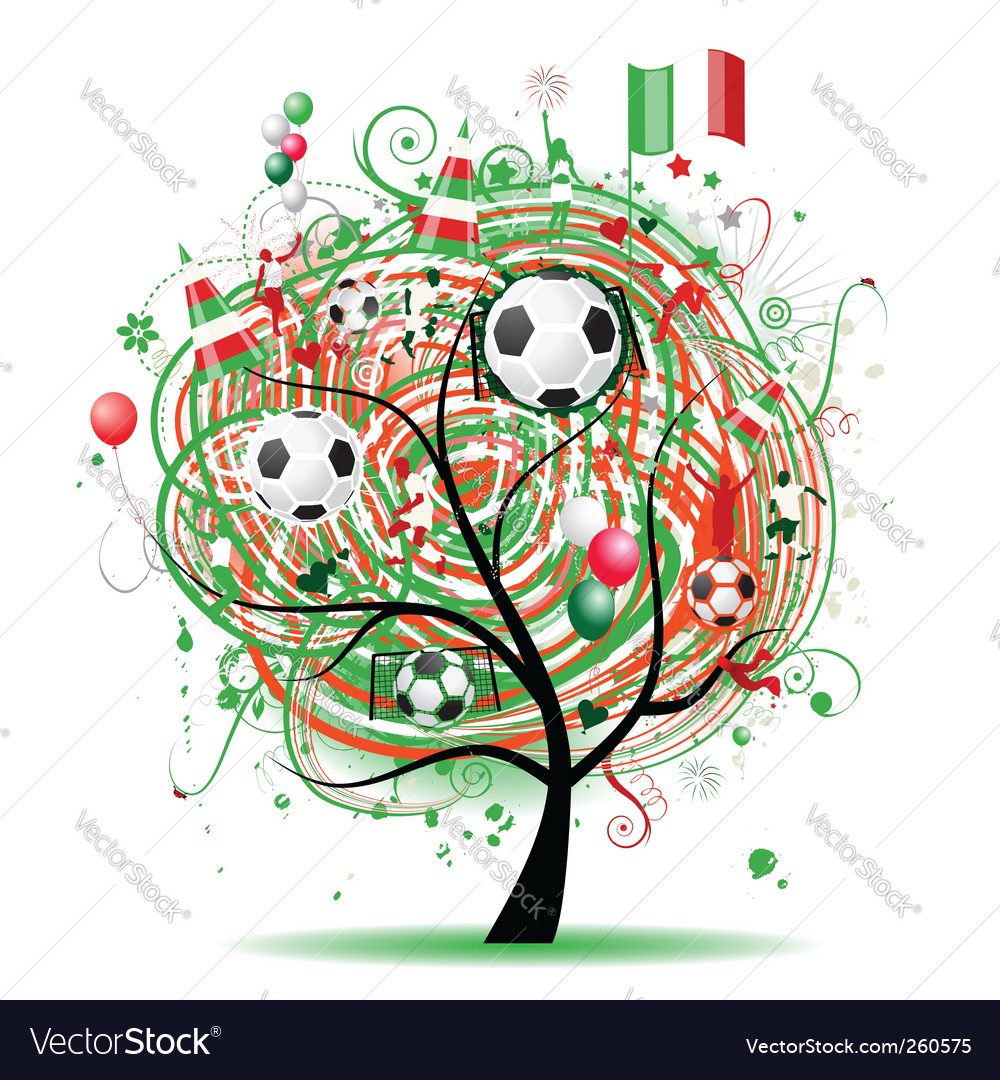 Football tree design Mexican flag vector image