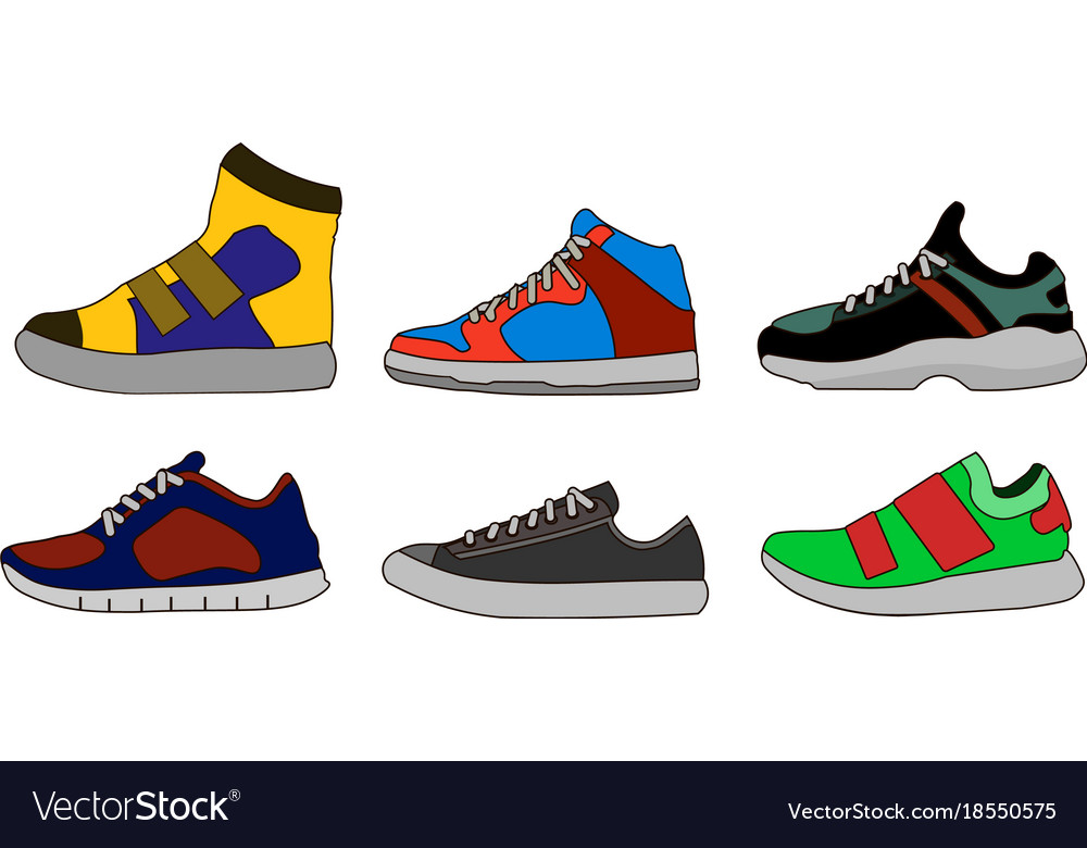 Sneaker shoe color flat icon pictogram symbol vector image