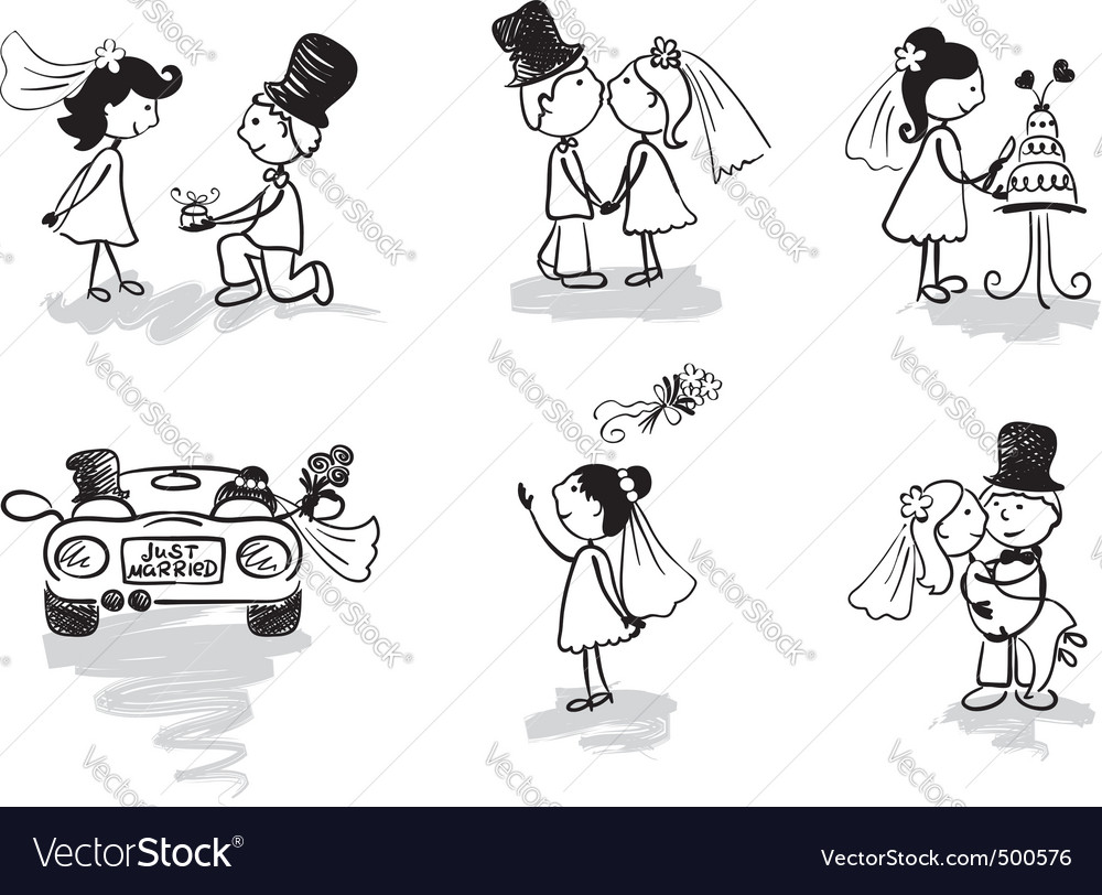 Wedding and newly married vector image