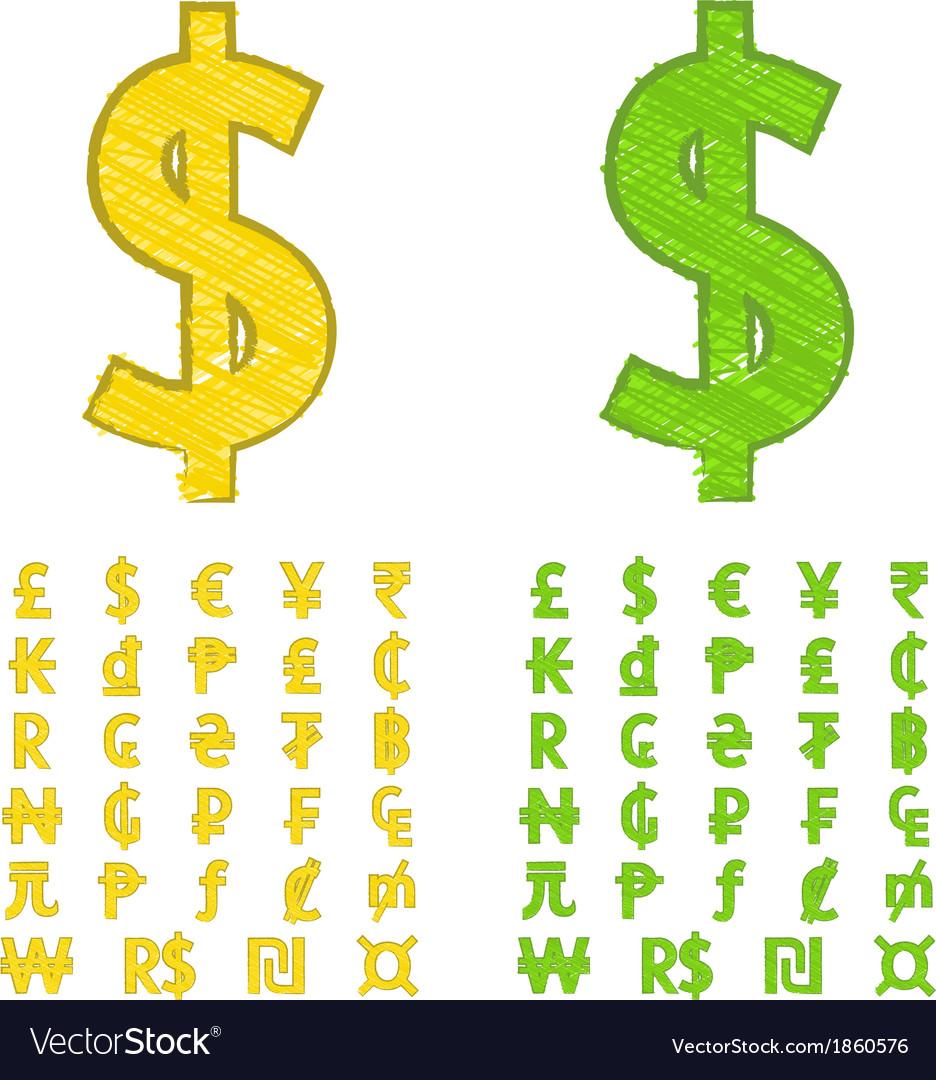 Doodle currency symbols of the world royalty free vector doodle currency symbols of the world vector image buycottarizona