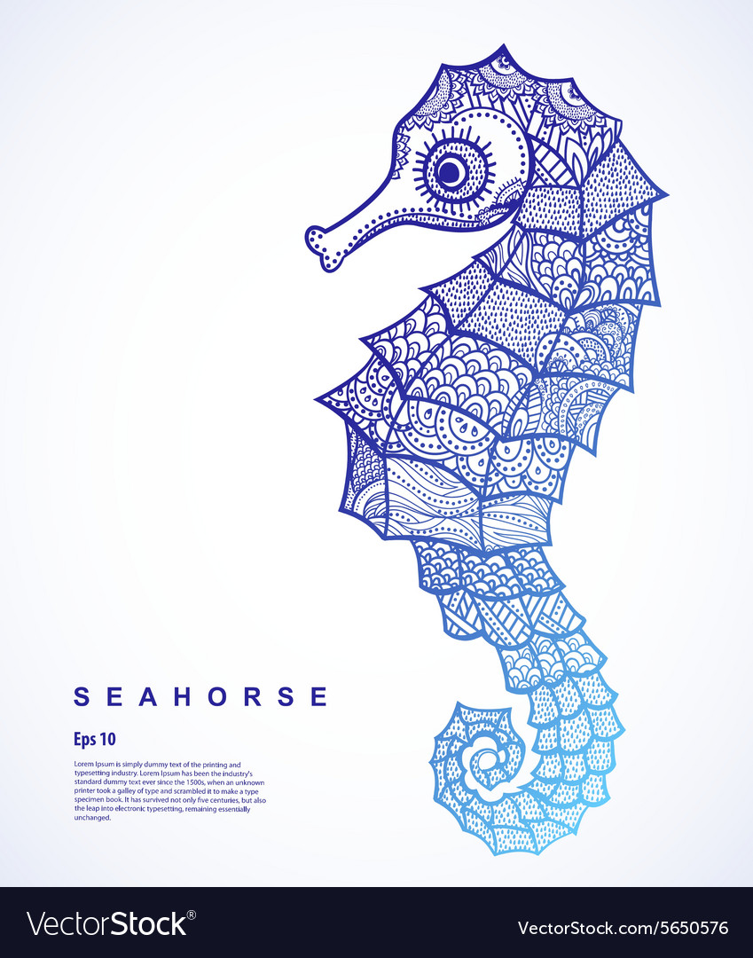 Tribal Seahorse vector image