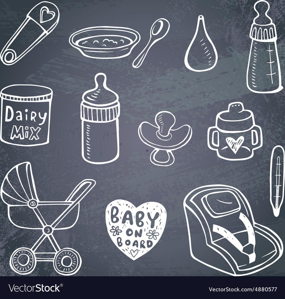 Infant doodle Icon set vector image
