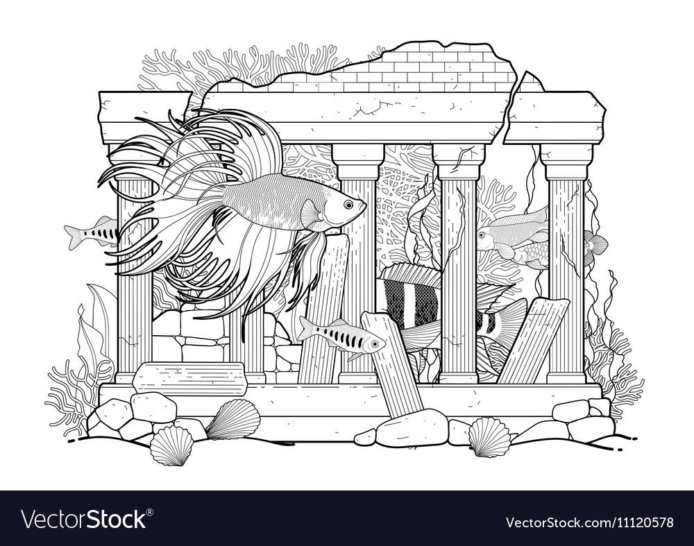 Graphic aquarium fish with architectural sculpture vector image