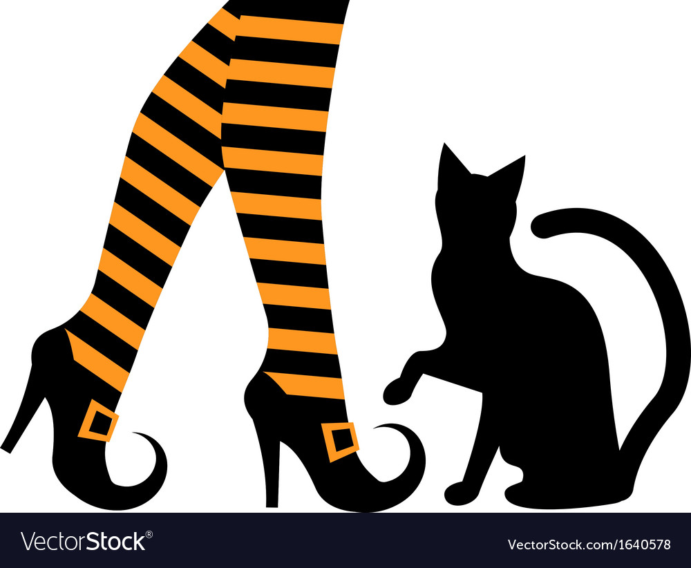 witches feet in shoes and a black cat royalty free vector