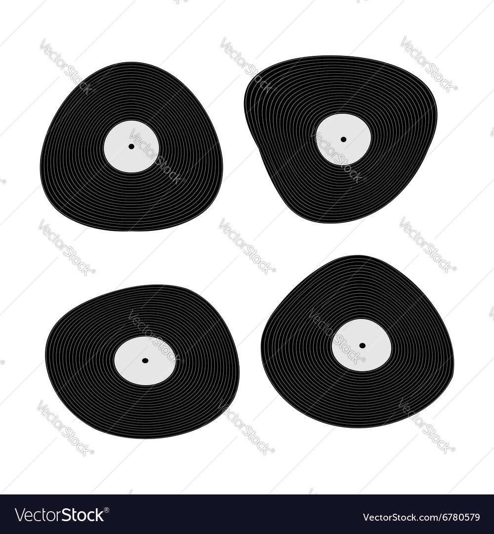 Set music black vinyl Retro plate vector image