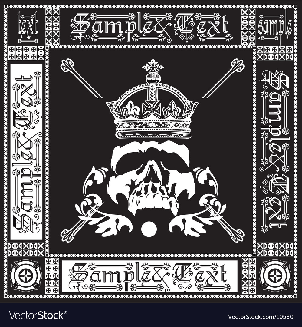 Ornate black and white skull vector image