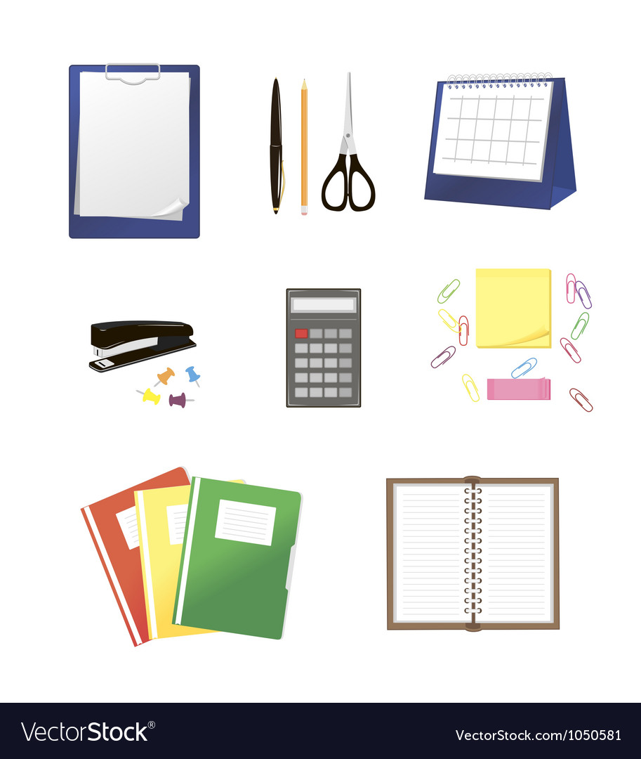 Stationery isolated on white Vector Image
