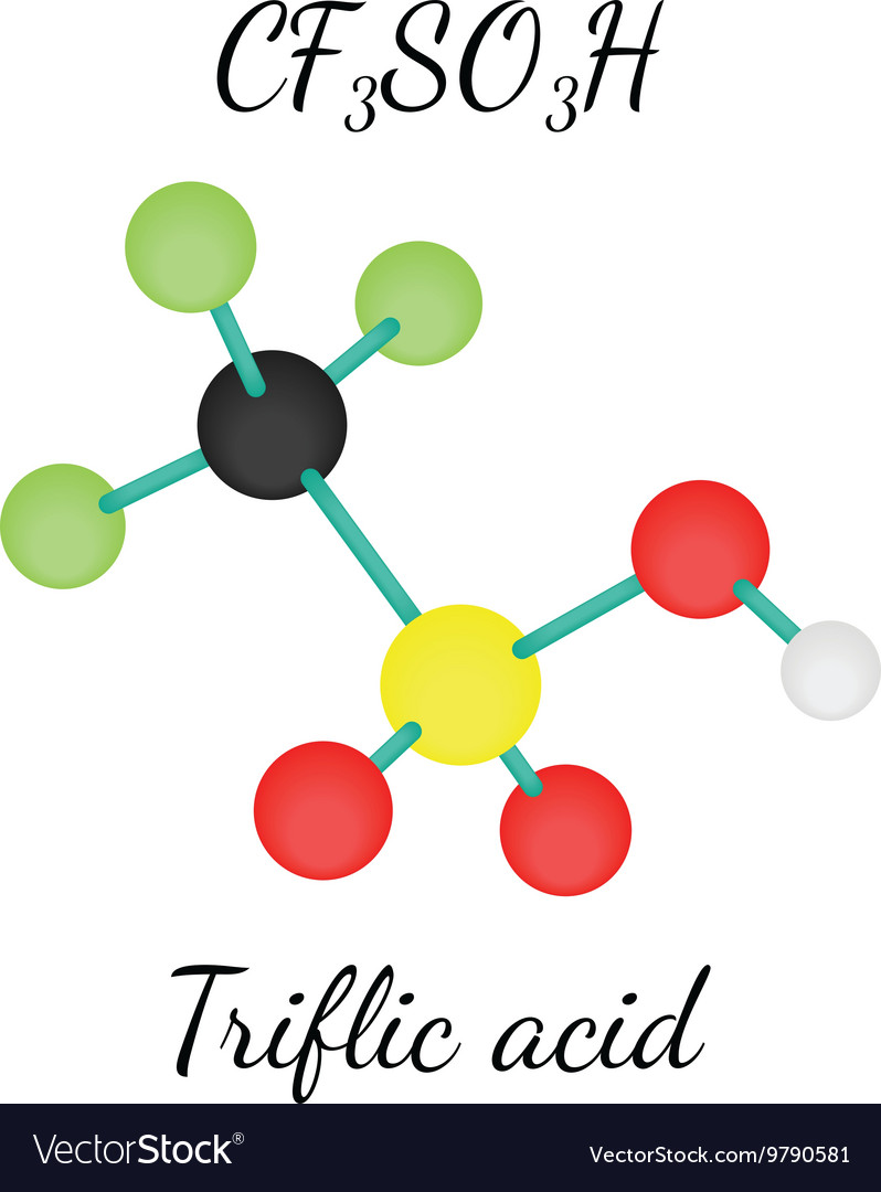 CF3SO3H Triflic acid molecule vector image