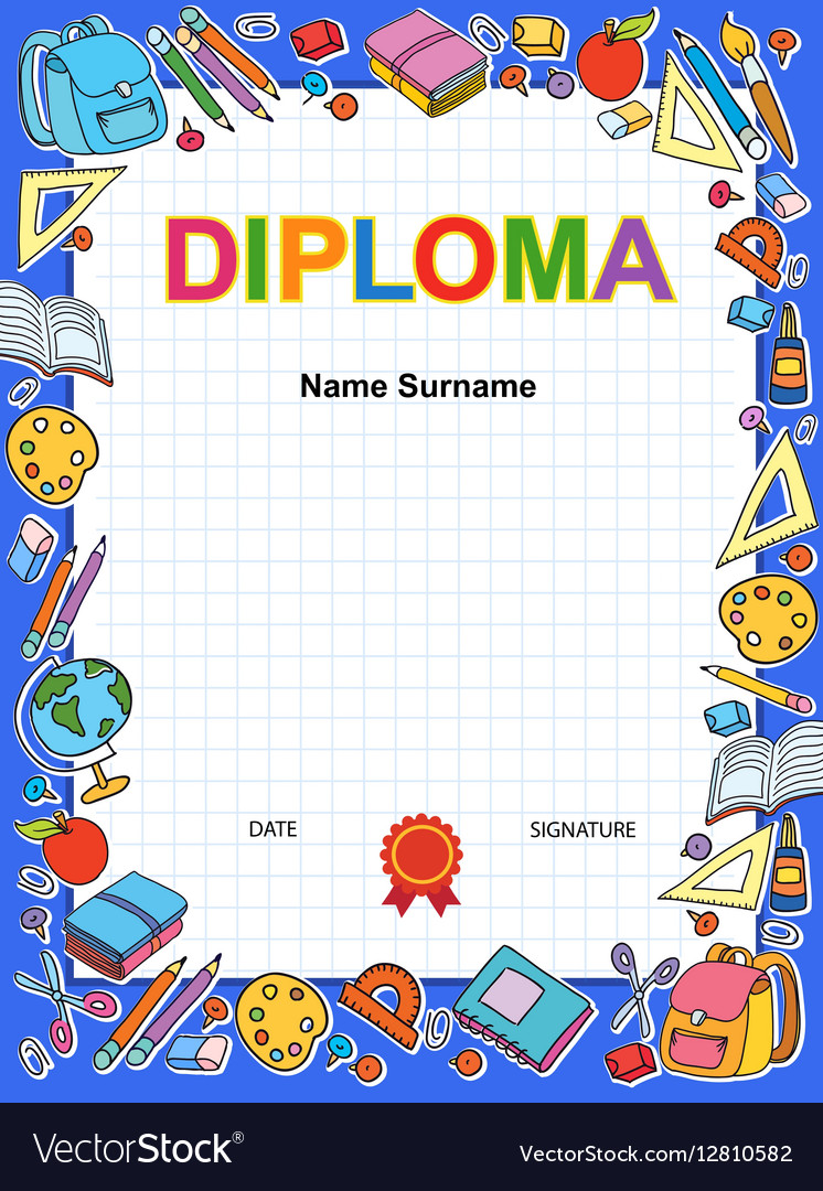 Kids diploma certificate background design vector image kids diploma certificate background design vector image xflitez Images
