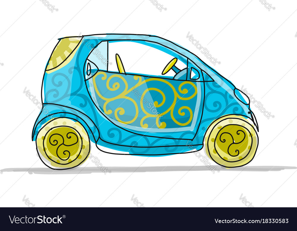 Small smart car sketch for your design Royalty Free Vector
