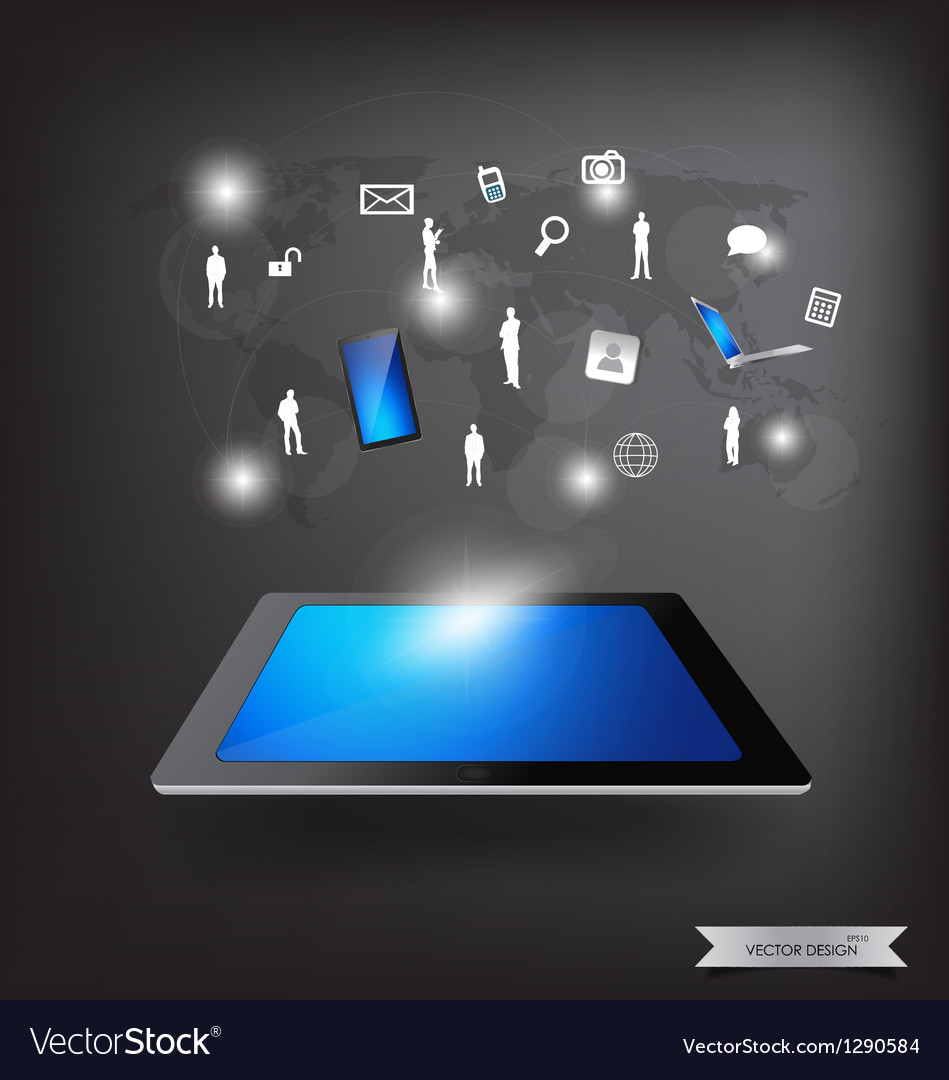 Modern technology thin tablet with social network vector image