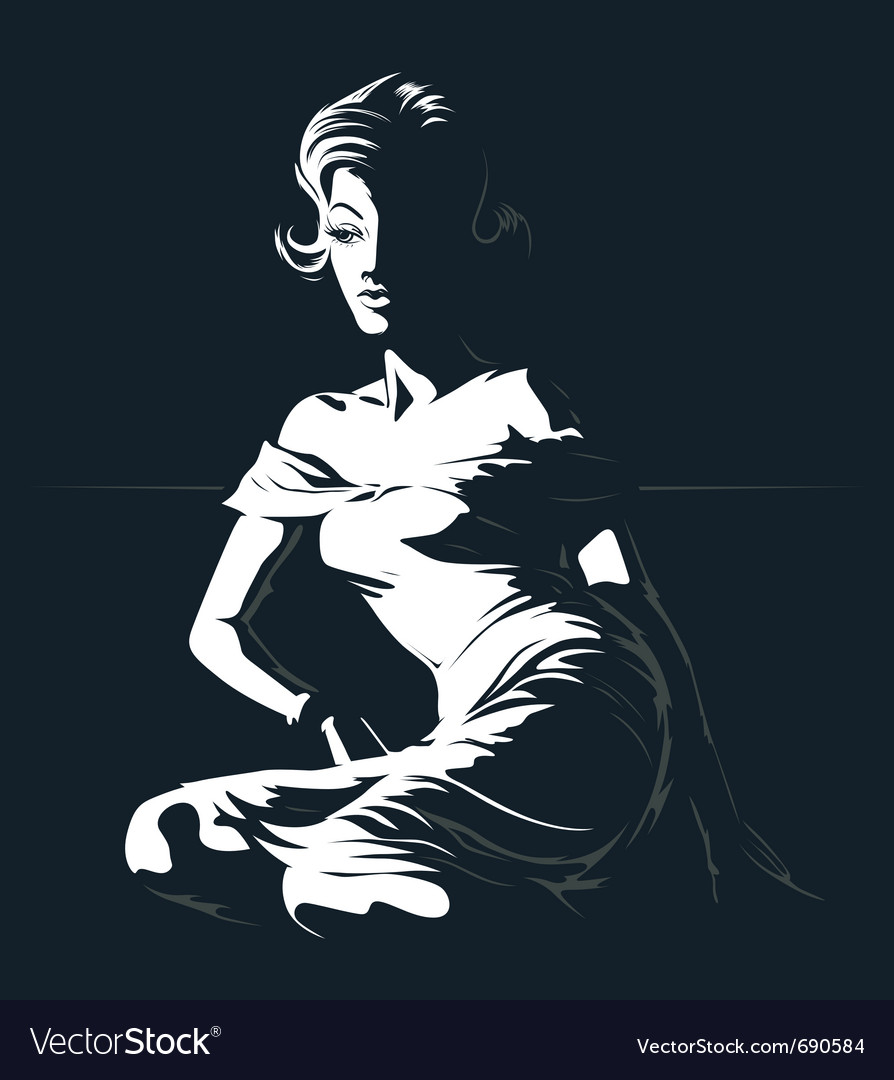 Glamour silhouette vector image