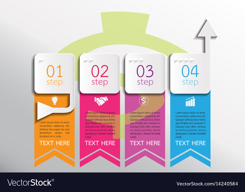 Four steps business infographics vector image