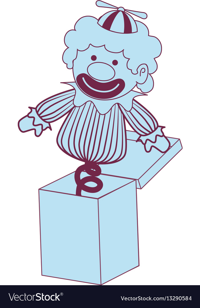 Surprice box with clown vector image