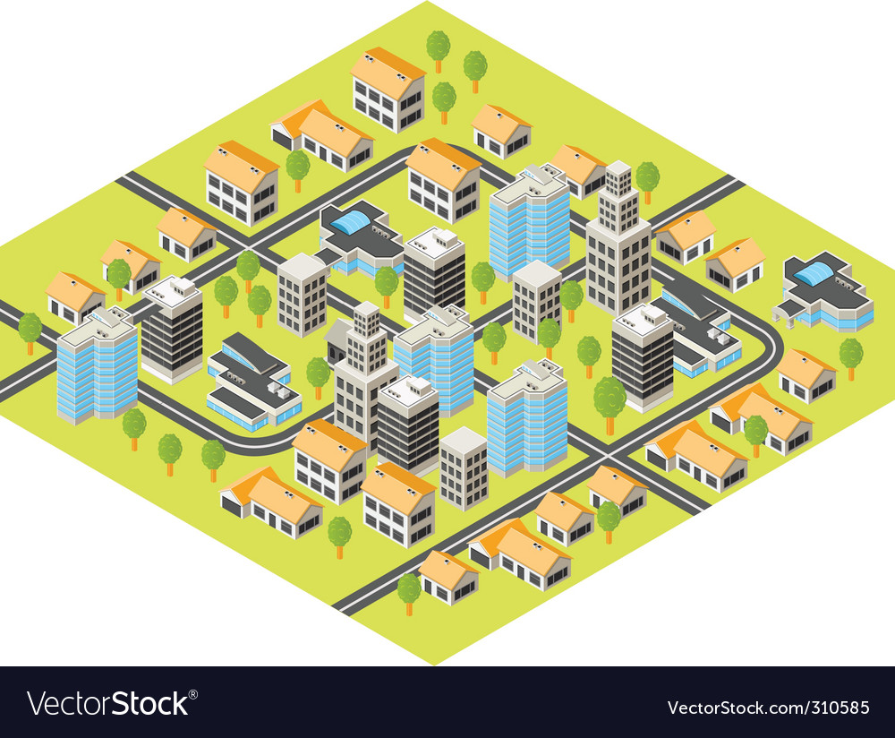 Isometric city vector image
