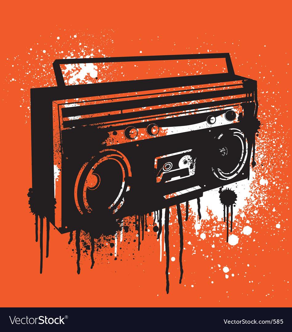 Graffiti stencil boombox vector image