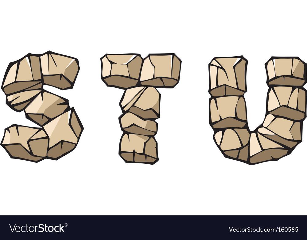 Stone alphabet stu vector image