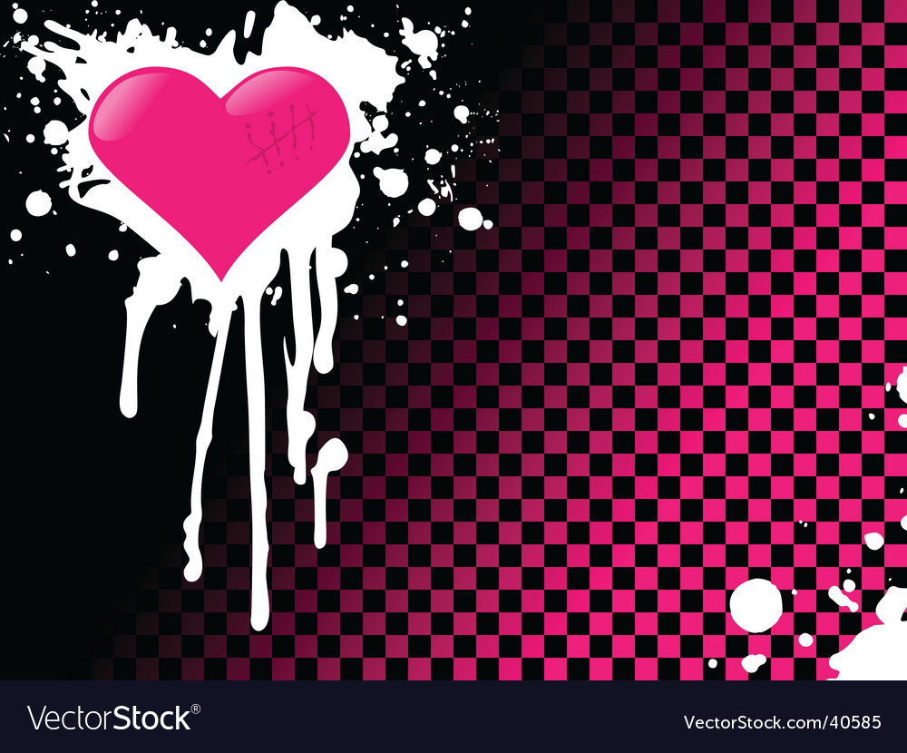 Pink Emo Heart Background Vector. Artist: Jadehawk; File type: Vector EPS