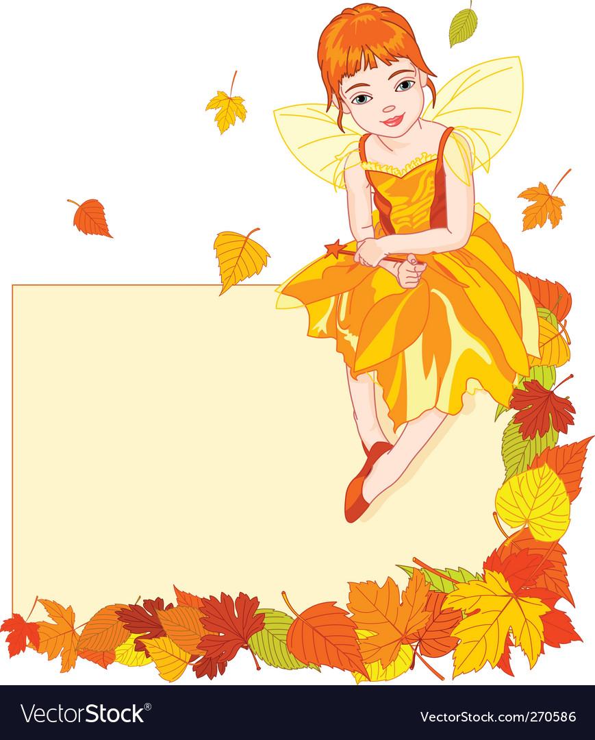 Autumn fairy place card vector image