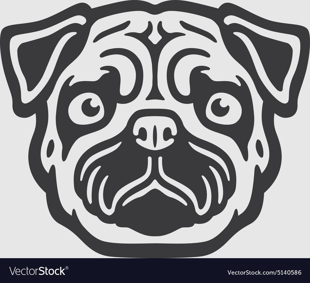 Mops Head Logo Mascot Emblem vector image