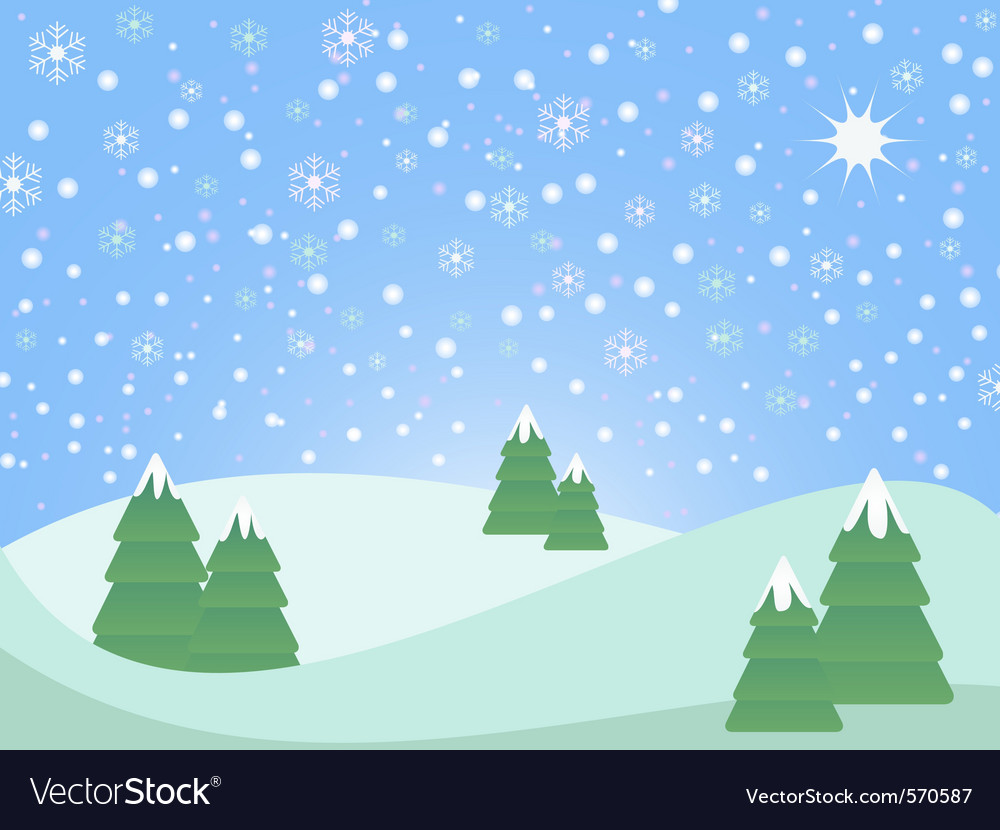 Christmas winter scene landscape vector image