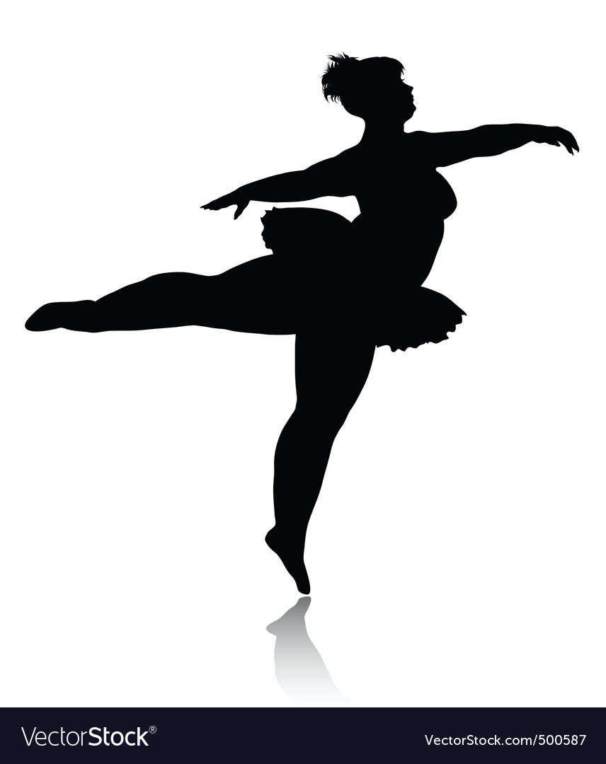overweight ballerina silhouette royalty free vector image