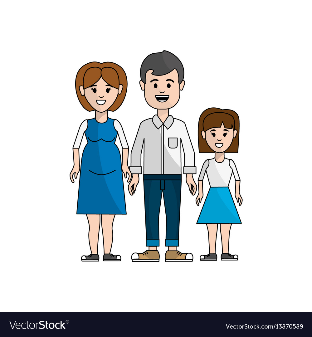 Couple with their daughter icon vector image