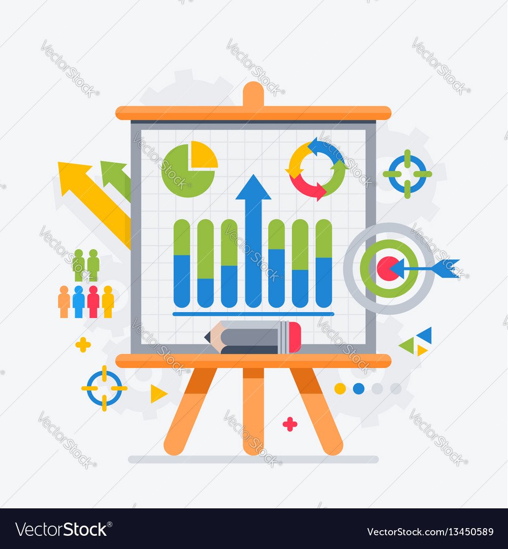 Target analytics charts on the board presentations vector image