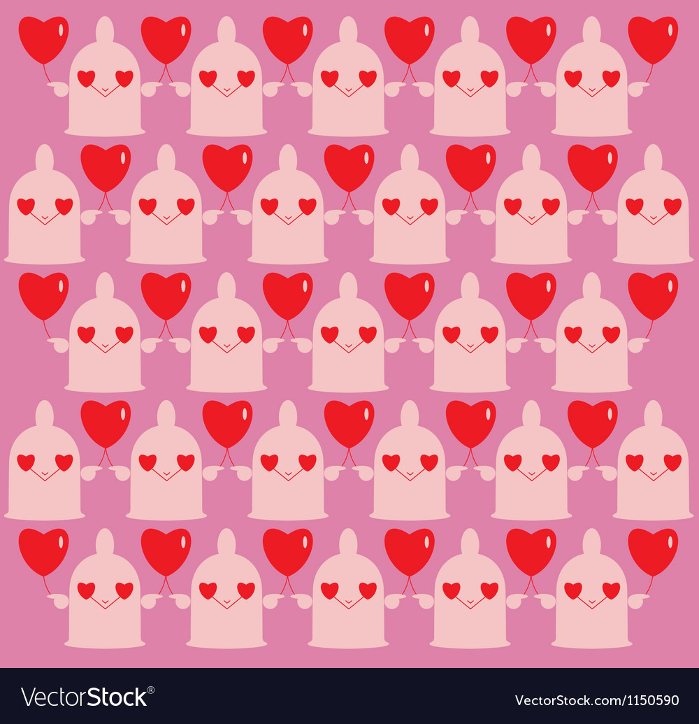 Cartoon erotic background with condoms and hearts vector image