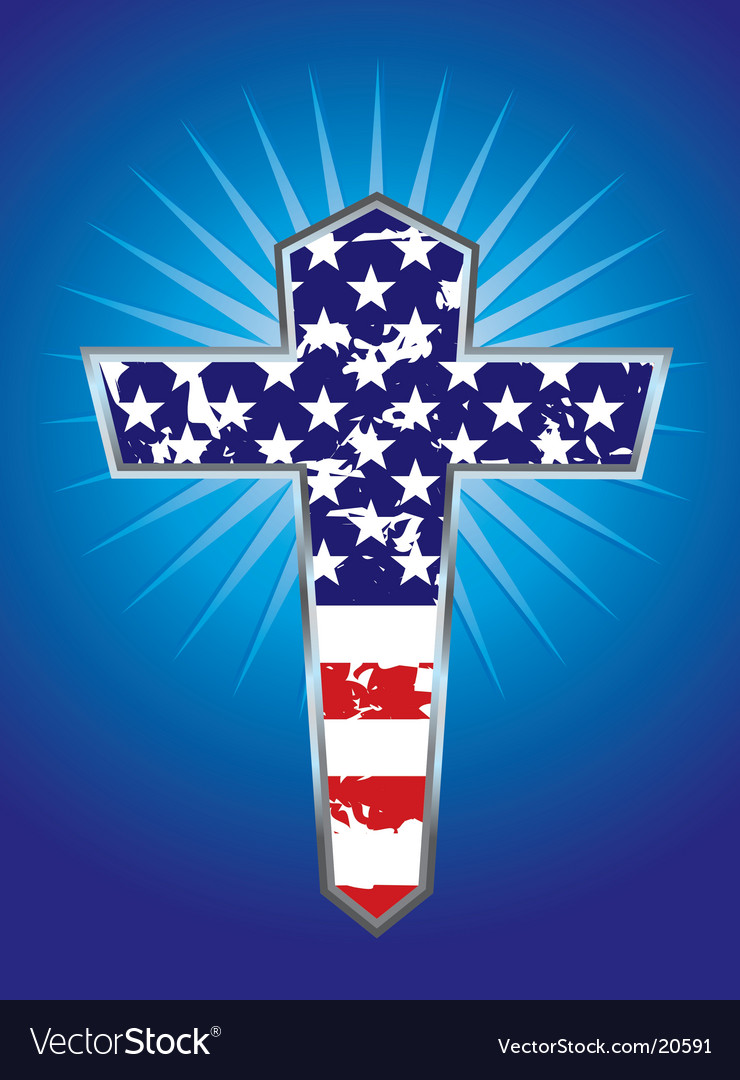 American flag cross illustration vector image