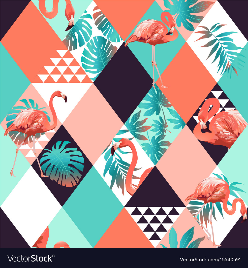 Exotic beach rhombus trendy seamless pattern vector image