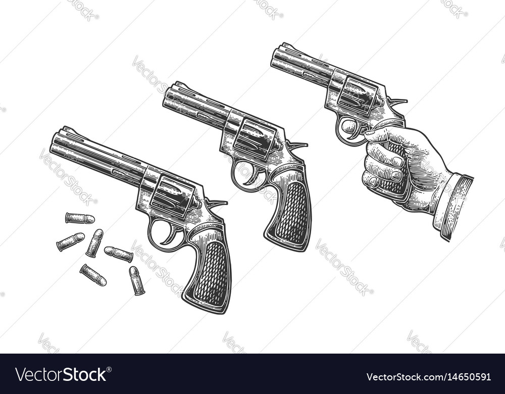 Hand holding revolver with bullets isolated on vector image