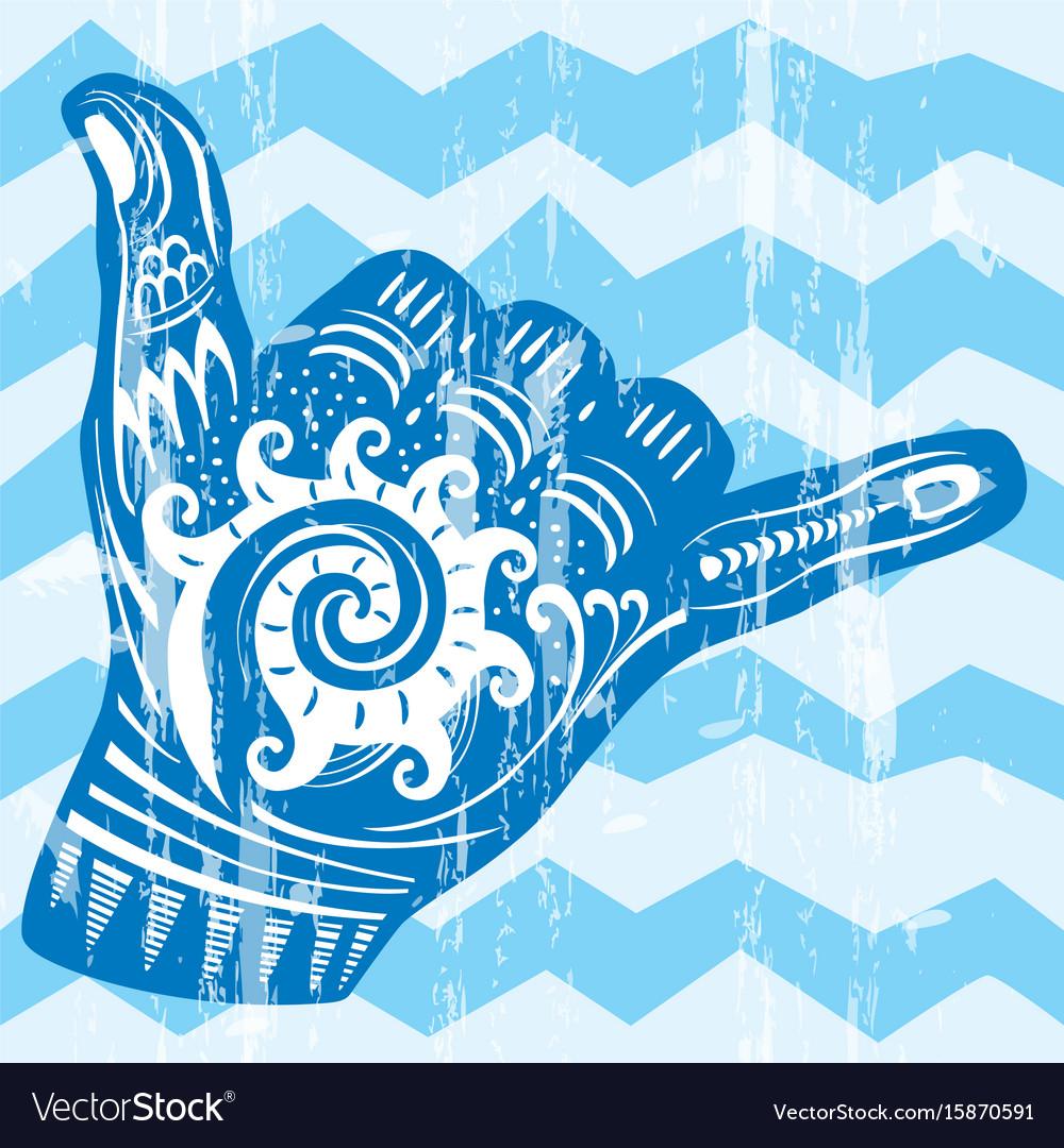 Hang loose hand signal vector image