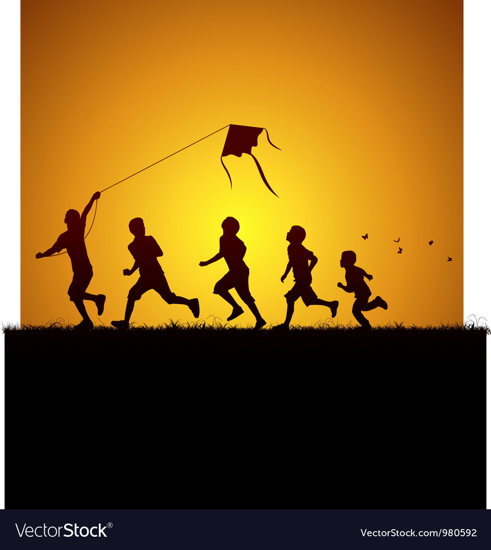 Kids flying a kite vector image