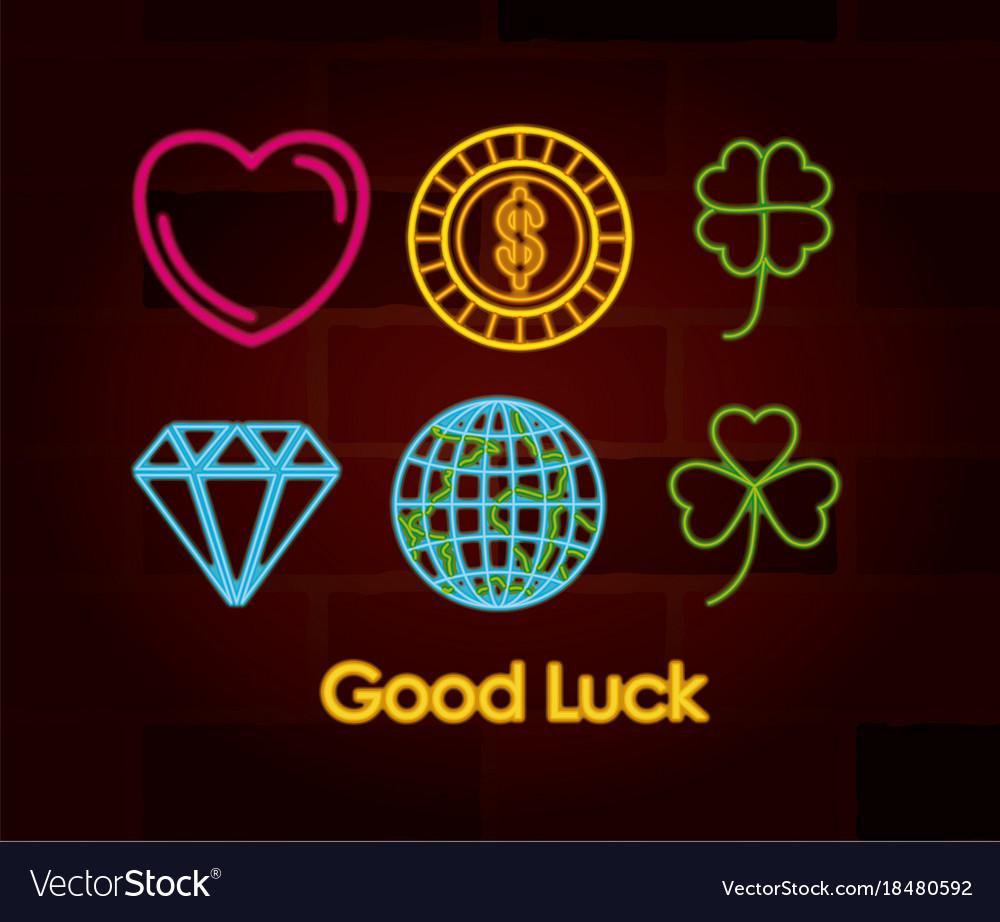 Good luck symbols set of neon sign on brick wall vector image good luck symbols set of neon sign on brick wall vector image buycottarizona
