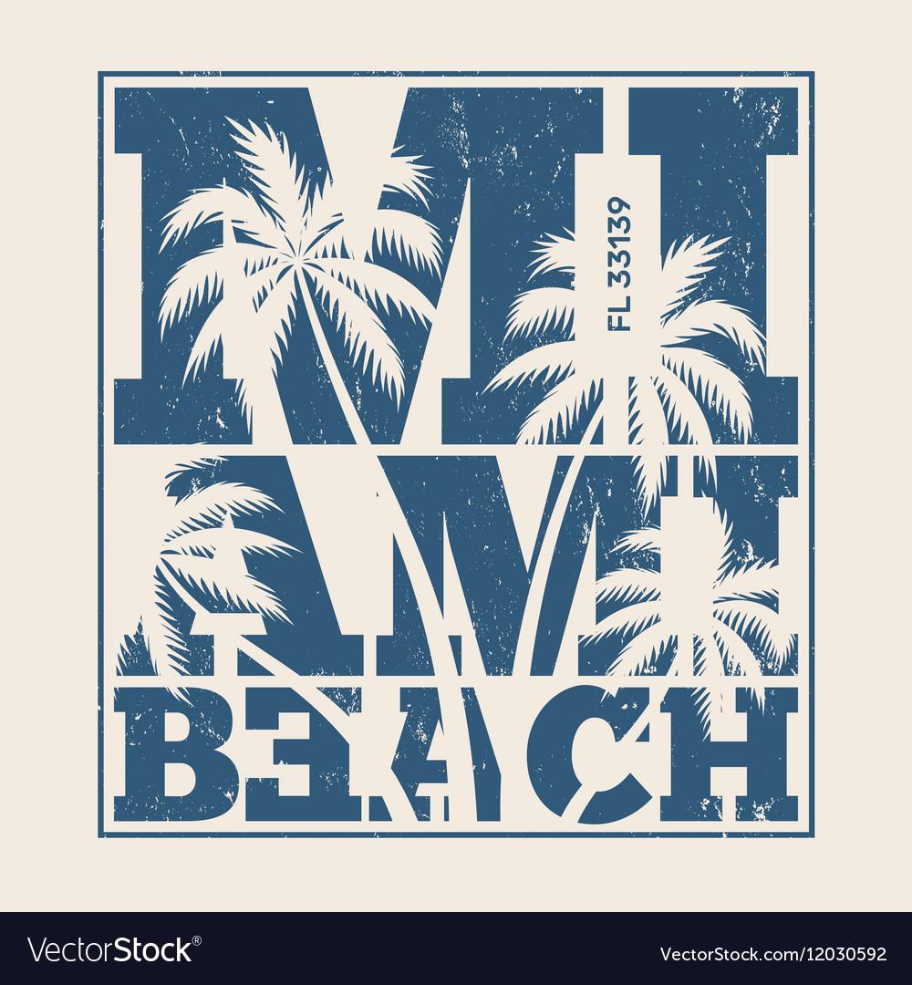 Miami beach tee design with palms vector image