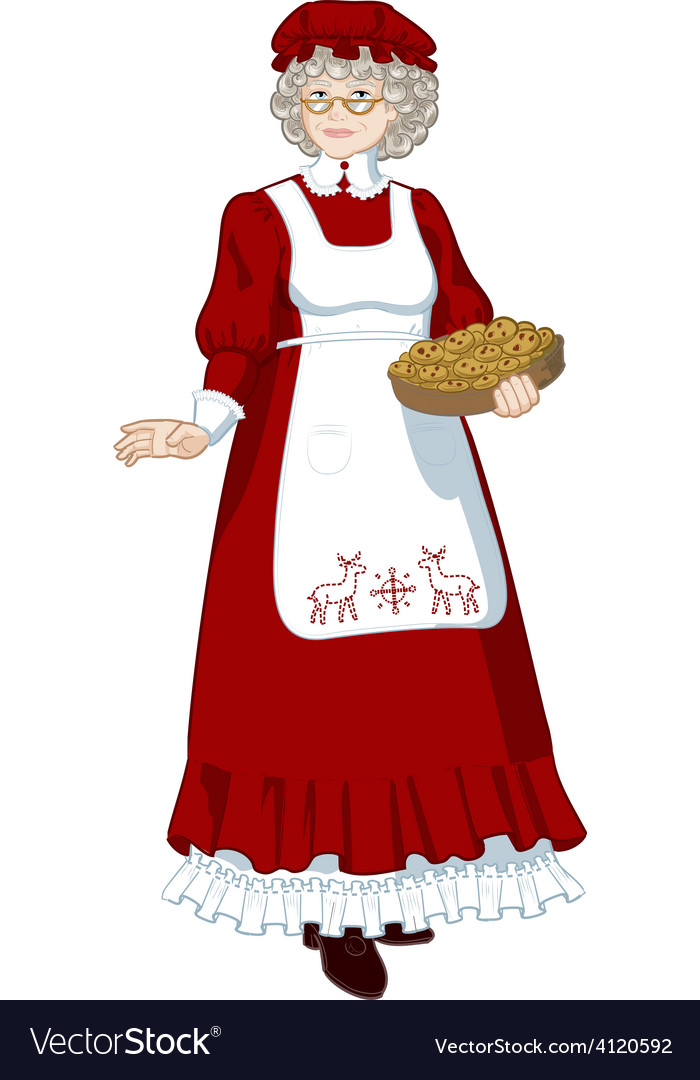 Mrs Santa Claus Mother Christmas character vector image