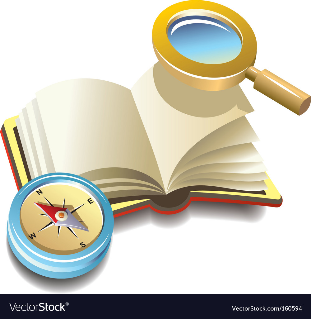 Book with compass and magnifier vector image