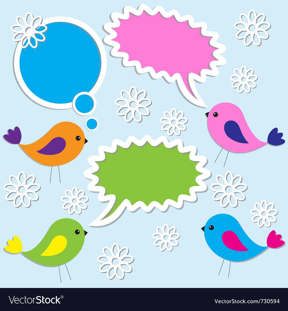 Cute birds with speech bubbles vector image