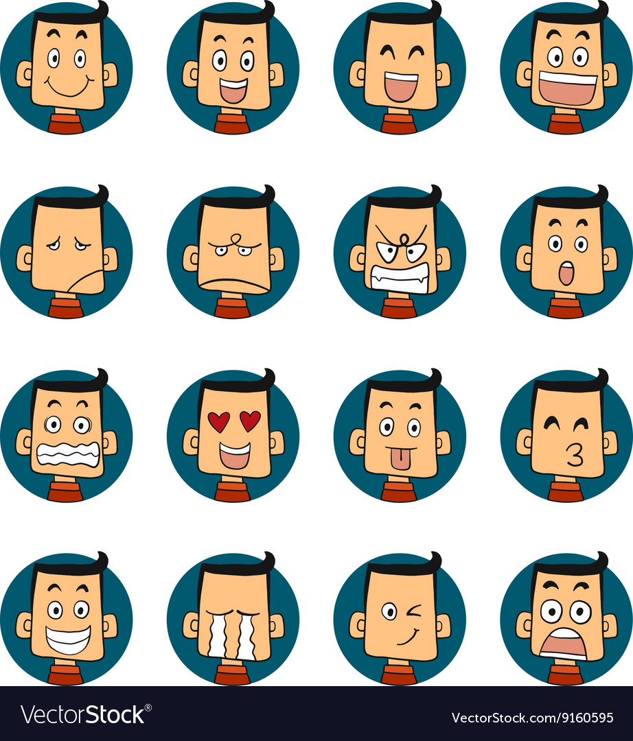 set of 25 smiley faces men characters