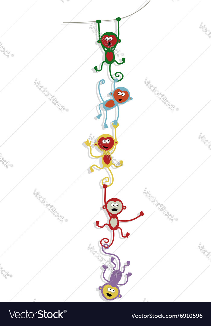Card design with funny colorful monkeys vector image