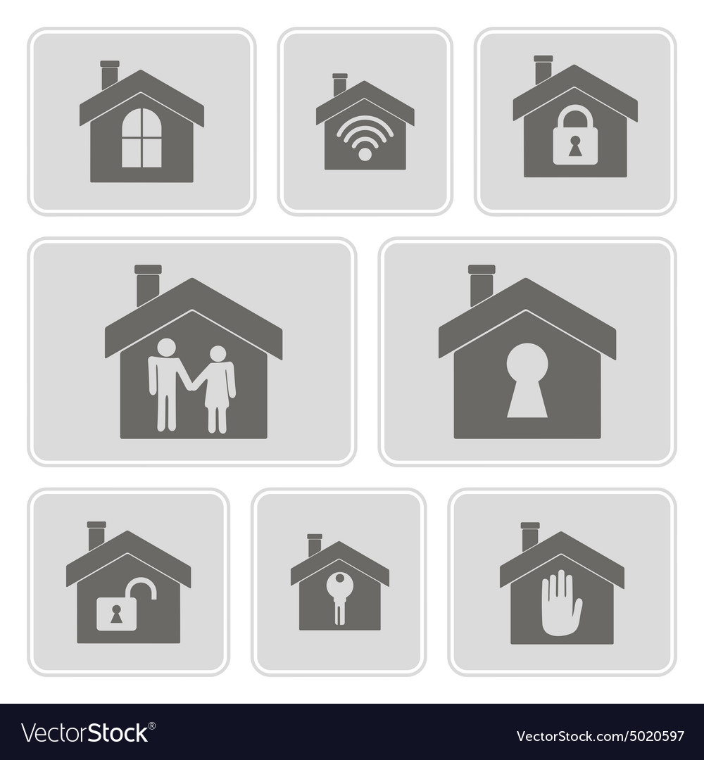 Monochrome icons with symbols of home royalty free vector monochrome icons with symbols of home vector image buycottarizona Image collections