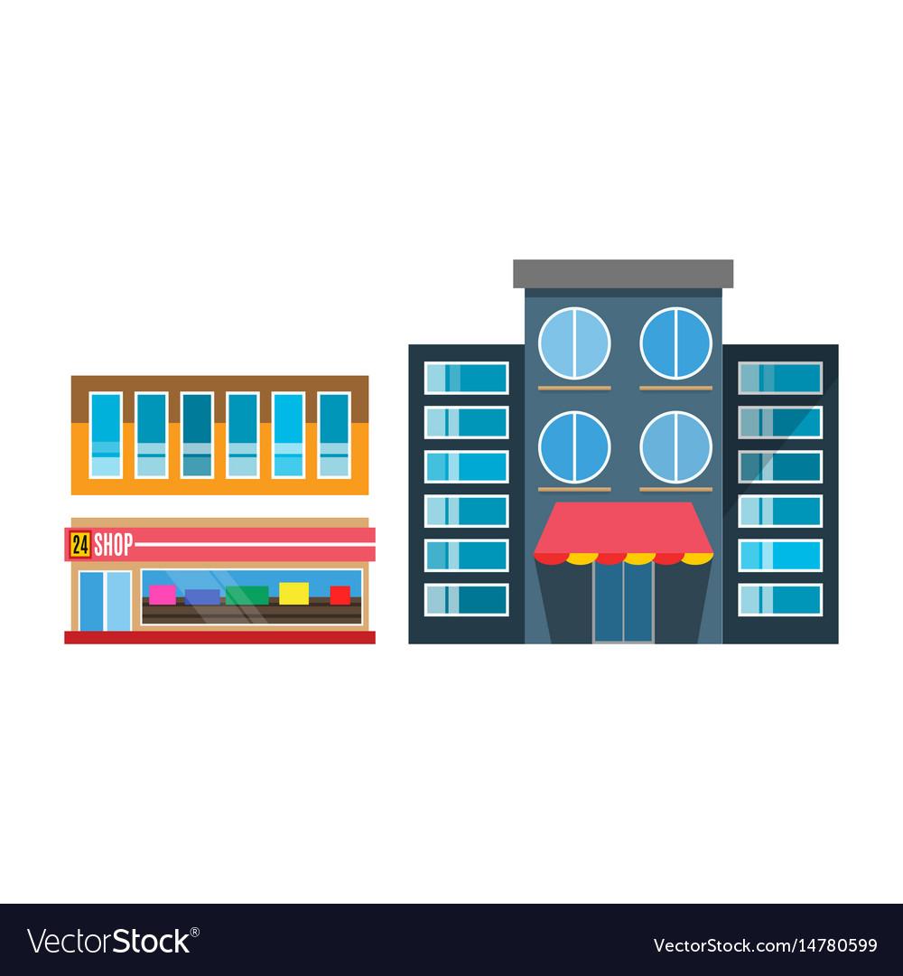 Flat design restaurant shop facade icon vector image
