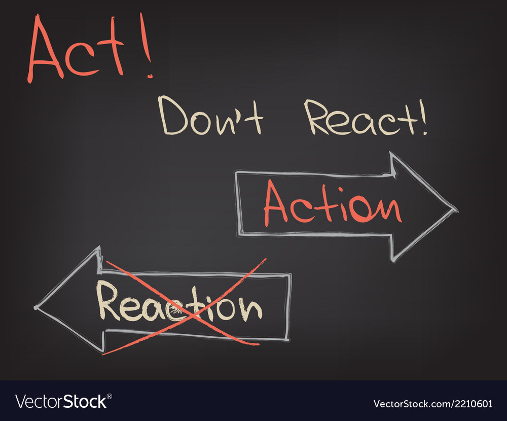 Act Dont React vector image
