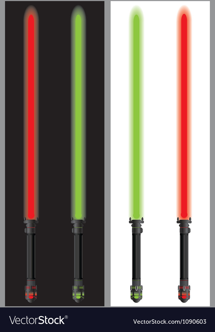 Lightsabers in mirror vector image
