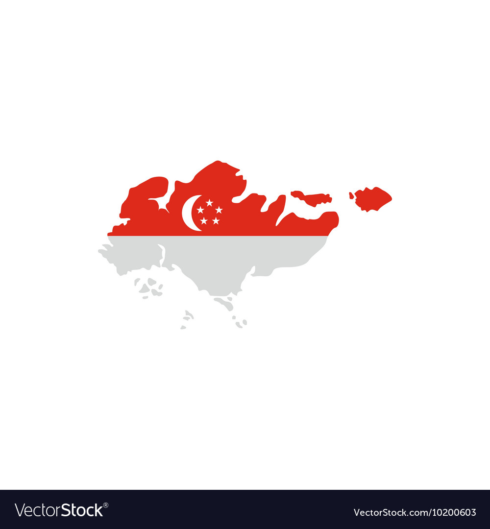 Singapore Flag Map Icon Flat Style Royalty Free Vector Image - Singapore map vector
